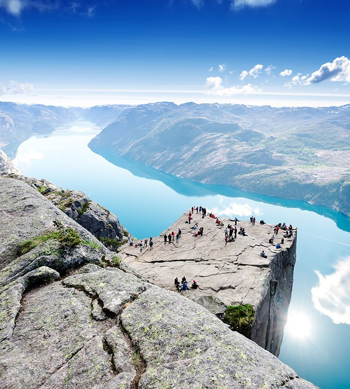 Preikestolen overlooking the Lysefjord in Norway