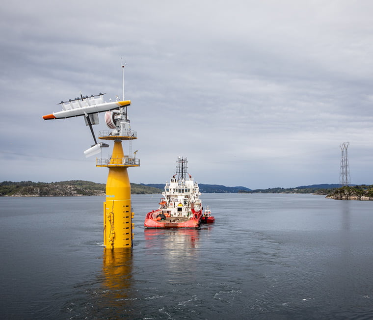 Flying wind turbine being towed out to sea
