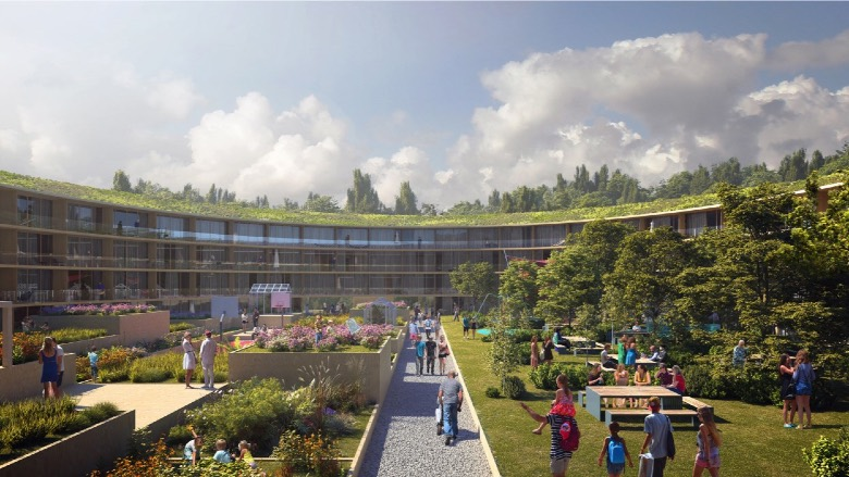 Inner courtyard of new OBOS development