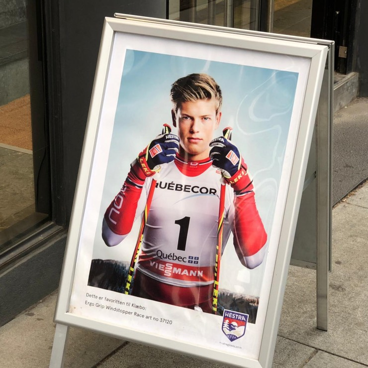The Norwegian skier Johannes Høsflot Klæbo on an advertising billboard