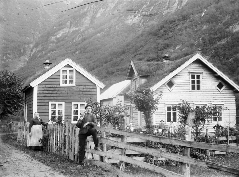 Historic Norway archive photo of a small village