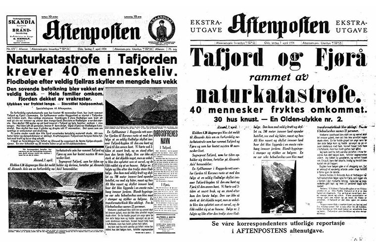 Aftenposten special edition on the Tafjord disaster
