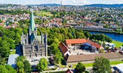 Beautiful green panorama of Trondheim, Norway