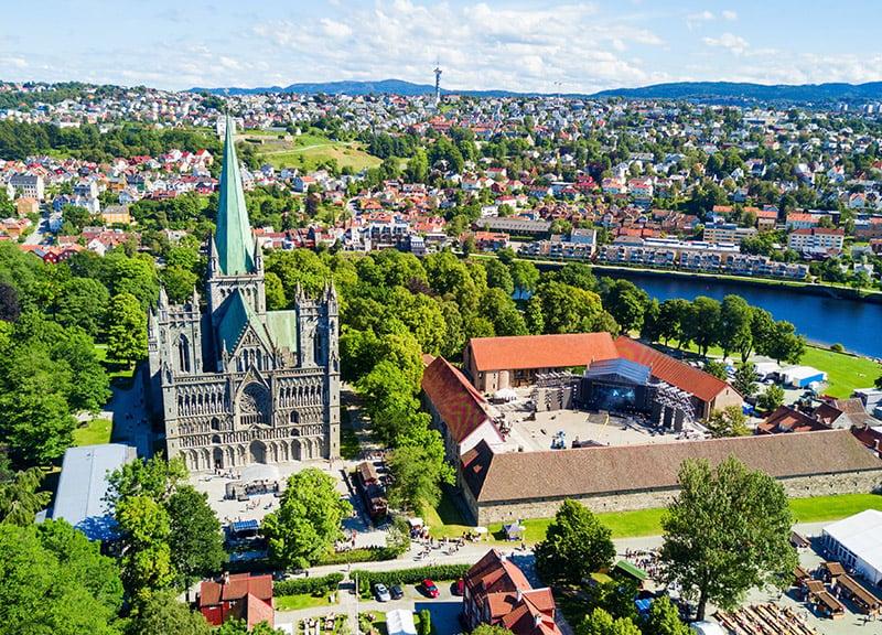 Beautiful green panorama of Trondheim, Norway
