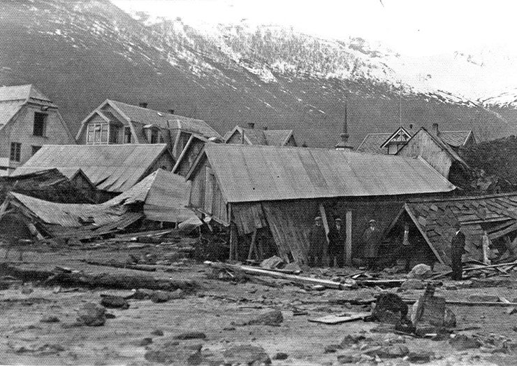 Some of the destruction of the Tafjord tsunami