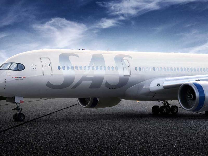Large SAS logo on airplane