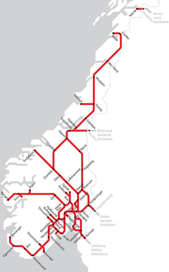 Norway train network map
