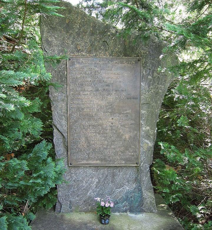 The Tafjord disaster memorial stone
