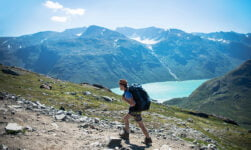 Backpacker in Norway on a hike
