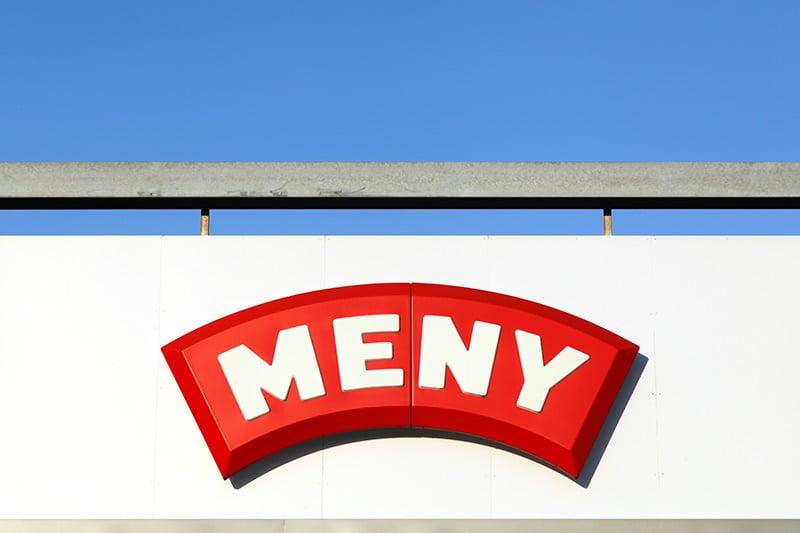 Meny supermarket sign
