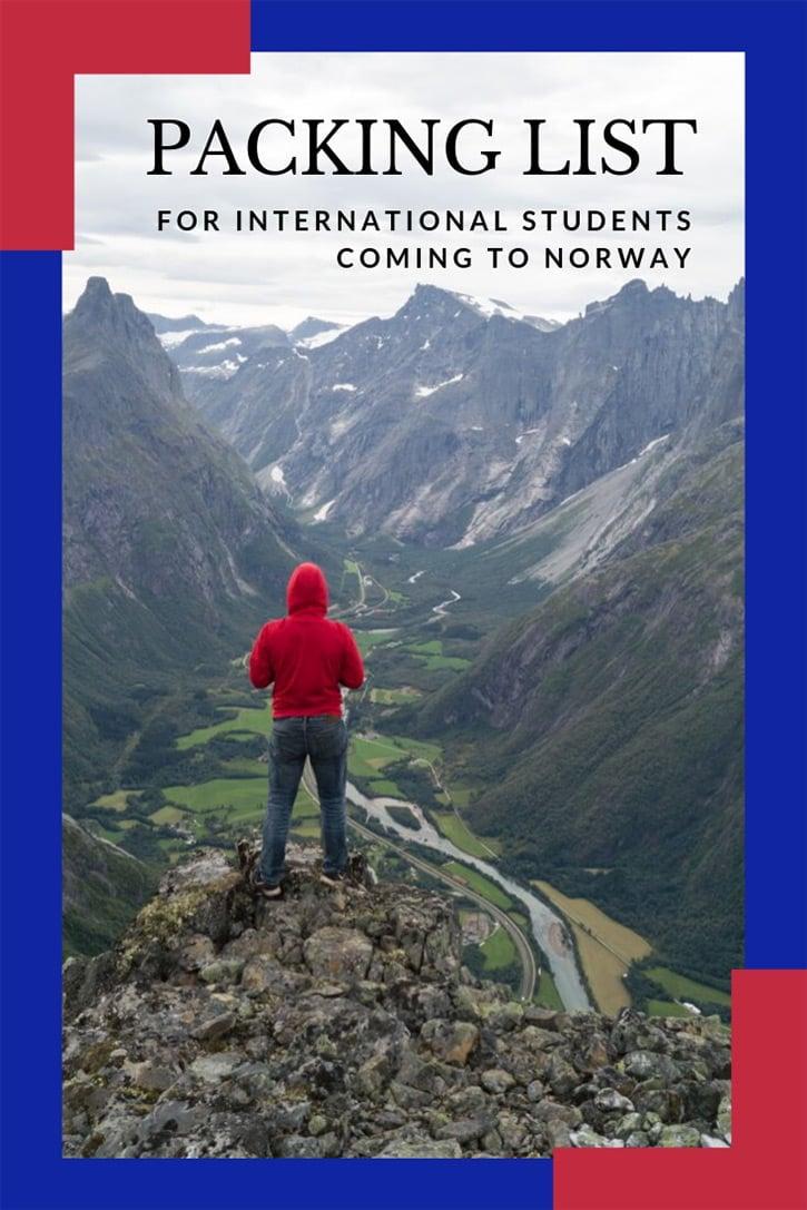 International student hiking in Norway