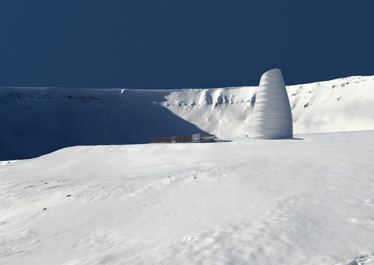 The giant white beehive design of the proposed Svalbard visitor centre