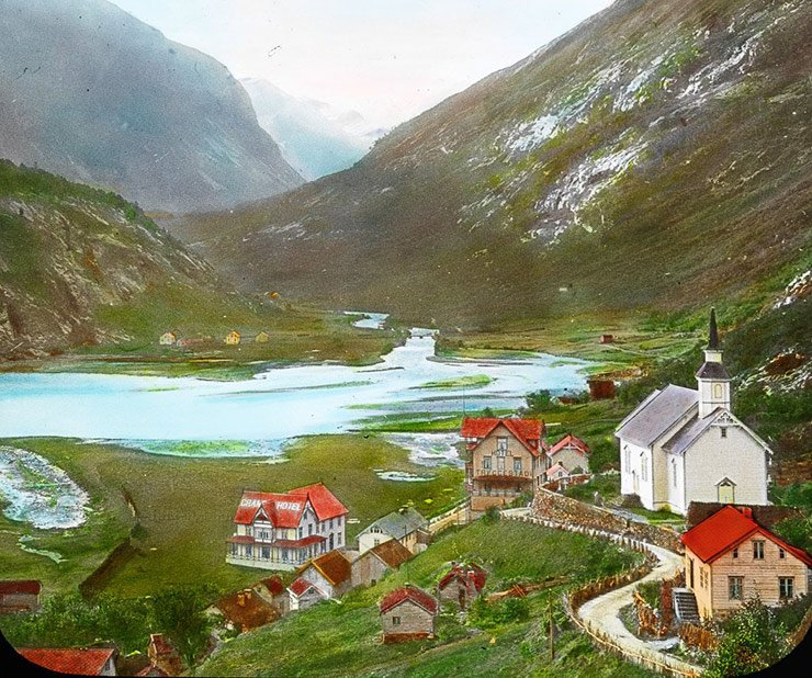 The town of Hellesylt in fjord Norway