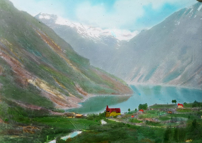 Lantern slide of Geiranger, Norway, circa 1900