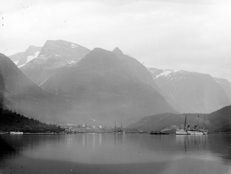 View of Loen from the Nordfjord circa 1910