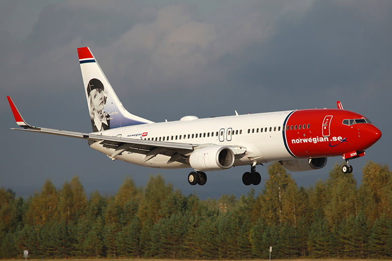 Norwegian 737-800 plane featuring Greta Garbo