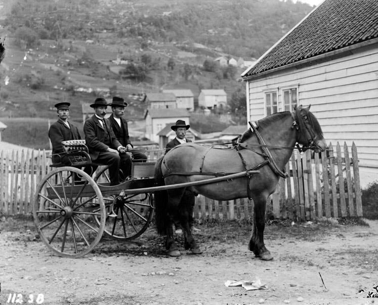 Norwegian men riding in a horse and carriage in Stryn, Norway