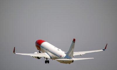 Norwegian Air plane taking off in Norway