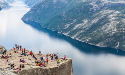 Crowds of people at Norway's Pulpit Rock