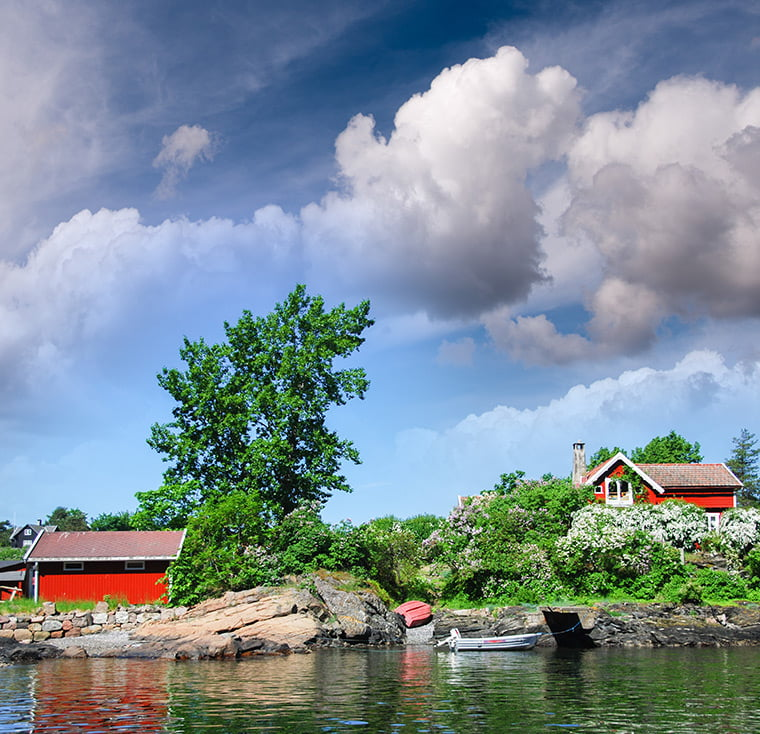 Red house on the Oslofjord in Norway