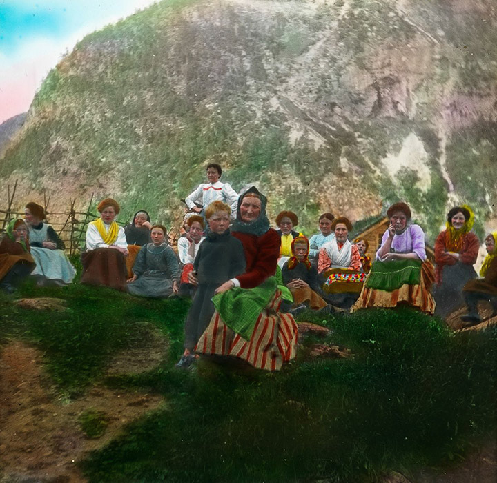 Archive slide image of rural Norwegians from 1900