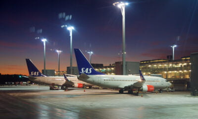 SAS planes at Oslo Airport in Norway