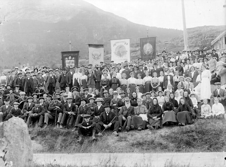 Stryn local youth association gathering in Norway in 1910