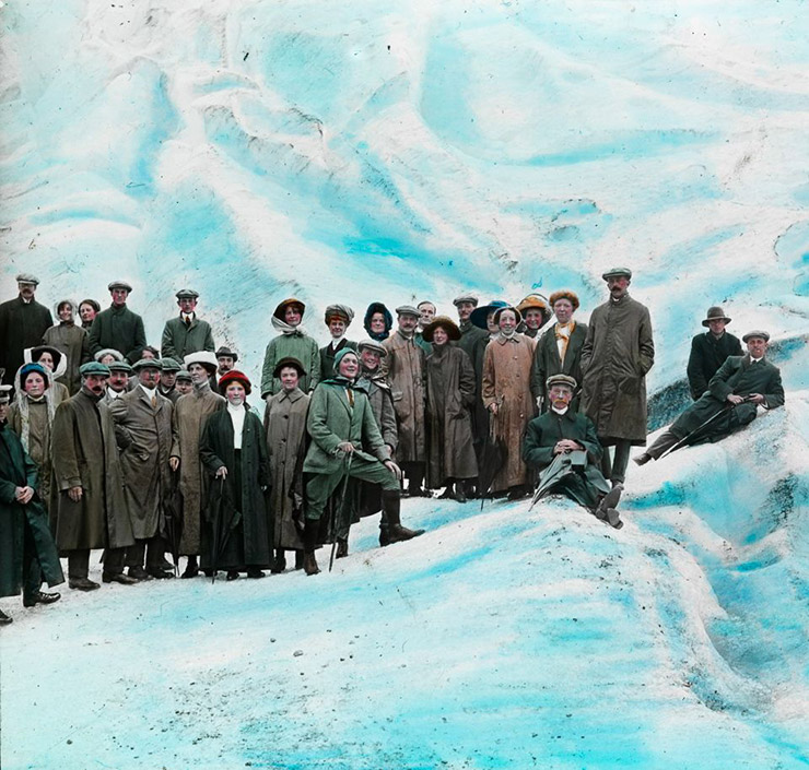 Tourists on a glacier in Norway around 1900