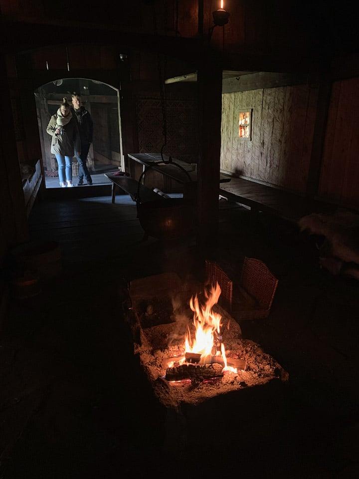 Fire inside a Viking longhouse