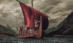 A Viking ship approaching shore