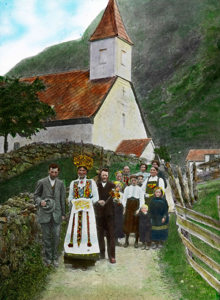 A coloured slide depicting a wedding procession in Eidfjord, Norway