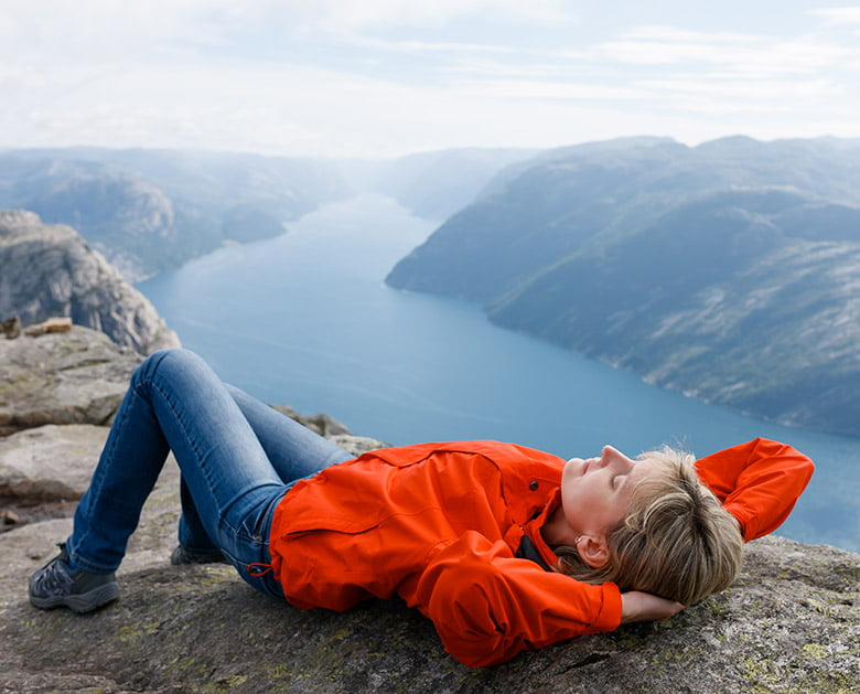 Woman at Pulpit Rock in Norway