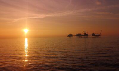 Johan Sverdrup oil field at sunset