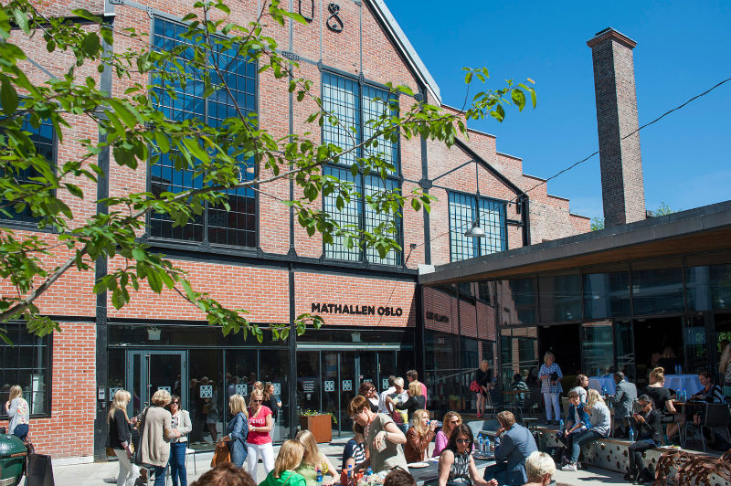 The Mathallen food hall, a cool place to eat and hang out in Oslo, Norway