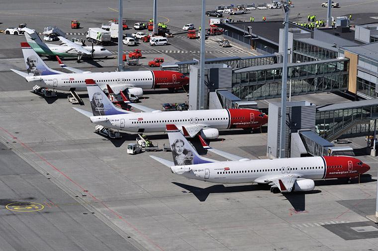 Norwegian planes at Oslo Gardermoen Airport in Norway