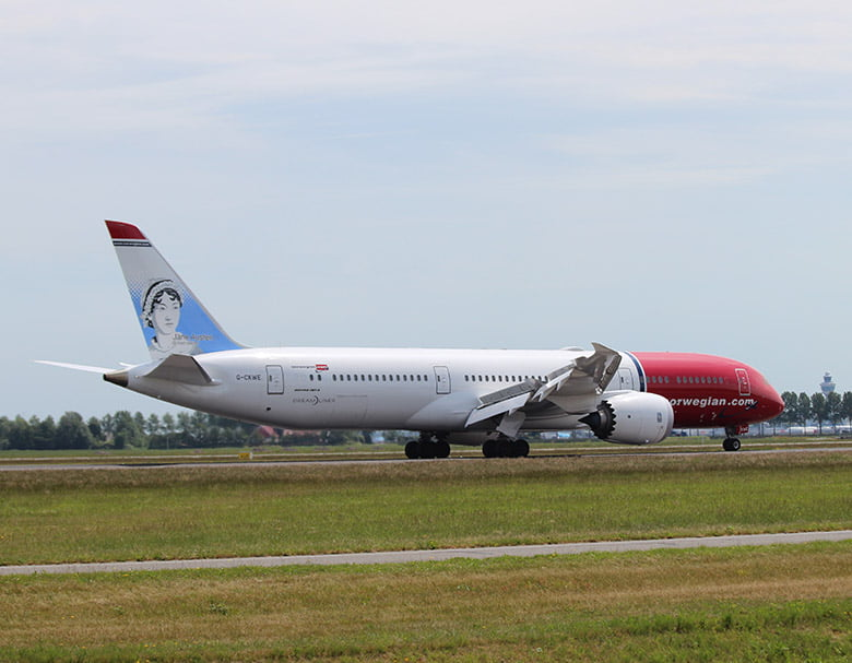 Norwegian Air Dreamliner with Jane Austen on the tail-fin