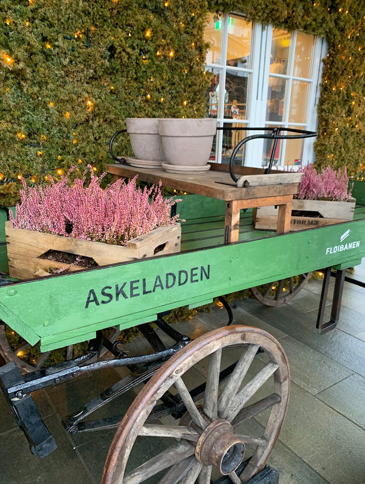 Decoration outside the Fløyen station shop in Bergen, Norway