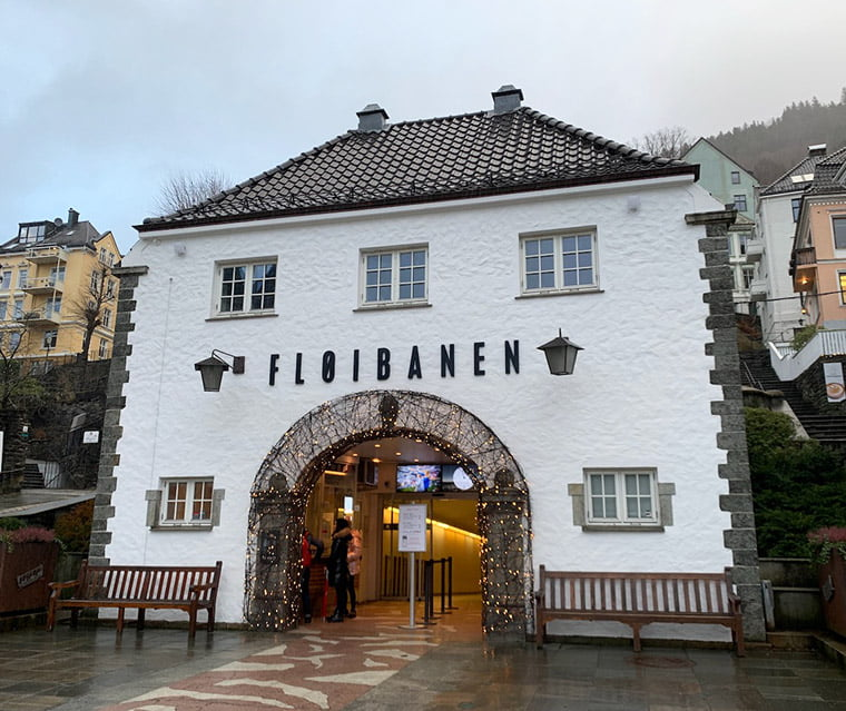 Fløibanen station in Bergen city centre