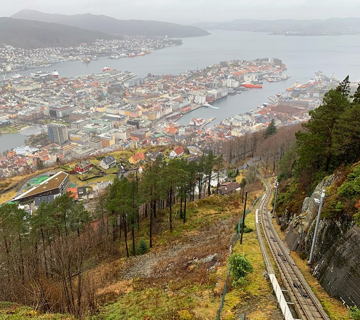 The funicular railway on the side of Mount Fløyen
