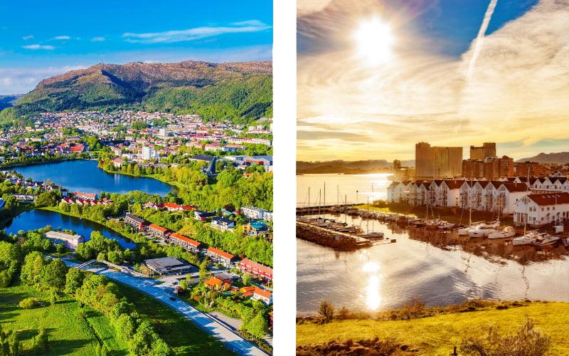 Green Bergen and Stavanger waterfront, Norway