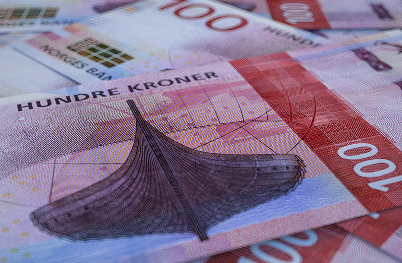 Norwegian money. A hundred krone note from Norway