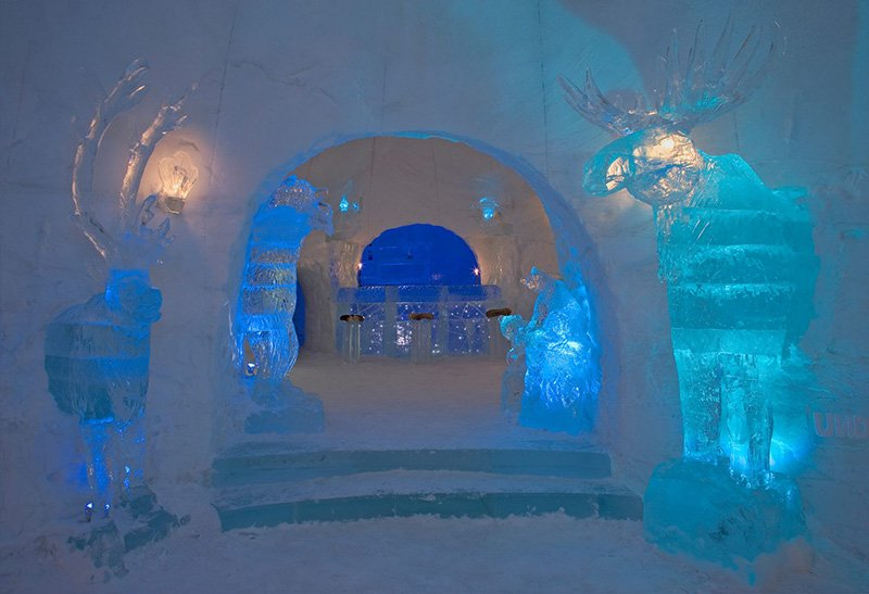 Ice sculptures inside the snow hotel