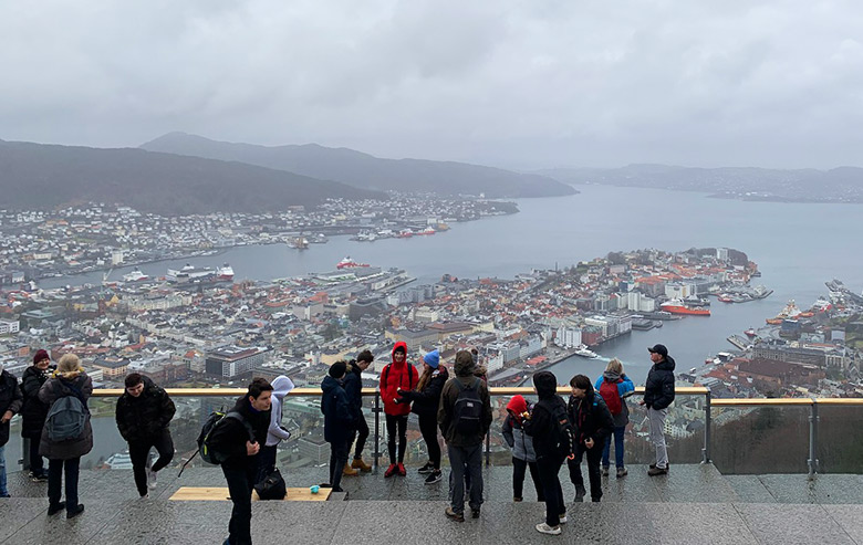 The view from the top of Mount Fløyen in Bergen, Norway