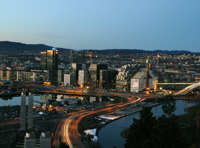 Oslo's Barcode business district from above in the evening