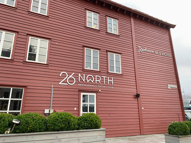 Exterior of the 26 North restaurant in Bergen, Norway