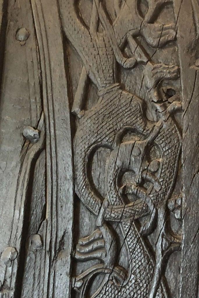 Dragon carvings detail on a Viking longship
