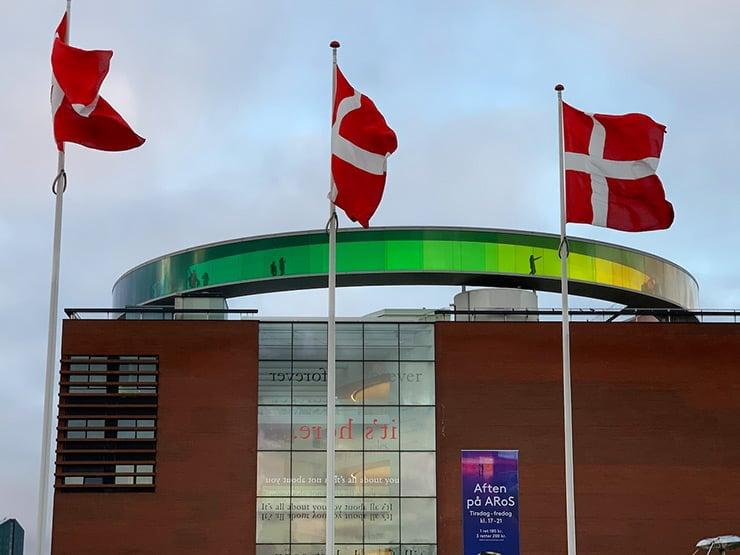 Flags of Denmark outside ARoS Aarhus Art Museum