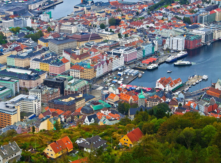 Bergen centre from above in the summer