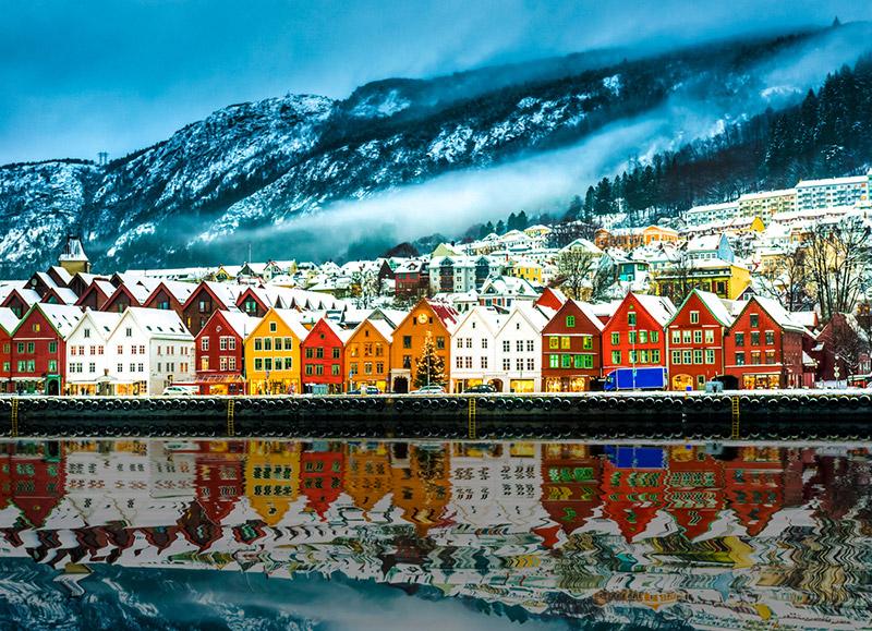 Bryggen from the water in Bergen, Norway