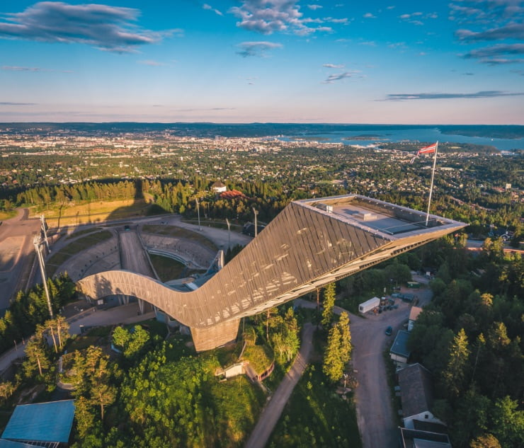 Aerial view of Holmenkollen ski jump in Oslo on a summer day